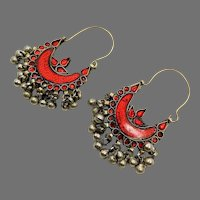 Red Earrings, Gypsy,Kuchi, Afghan, Huge Hoops, Vintage Earrings, Red Mirrors, Ethnic Tribal, Belly Dance, Bollywood, Boho Statement