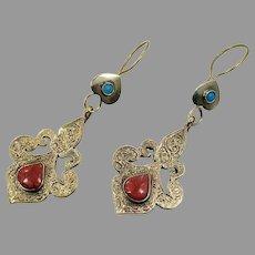 Boho Earrings, Red Jasper, Vintage Earrings, Kuchi Gypsy, Turquoise, Pierced Dangle, Afghan Jewelry, Bohemian, Large Big Long, Festival
