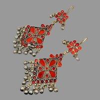 Red Earrings, Massive, Boho, Vintage Earrings, Middle Eastern, Jeweled, Kuchi, Gypsy, Afghan, Bohemian, Belly Dance