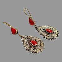 Boho Earrings, Vintage Earrings, Kuchi, Gypsy, Brass, Red Stone, Composite Jasper, Afghan, Bohemian, Statement, Dangle