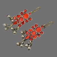 Red Earrings, Boho, Middle Eastern, Red, Jeweled, Vintage Earrings, Kuchi Gypsy, Afghan, Bohemian, Long