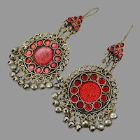 Red Earrings, Massive, Boho, Vintage Earrings, Middle Eastern, Jeweled, Kuchi, Gypsy, Afghan, Bohemian