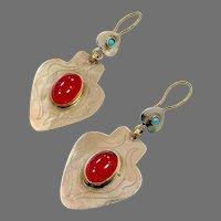 Gypsy Earrings, Afghan, Kuchi, Vintage Earrings, Red Jewel, Middle Eastern, Bohemian, Large, Pierced Dangle