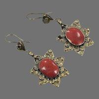 Boho Earrings, Vintage Earrings, Middle Eastern, Kuchi Gypsy, Red Stone, Brass, Afghan Jewelry, Bohemian
