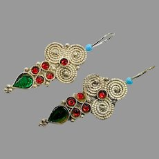 Boho Earrings, Vintage Earrings, Middle Eastern, Green, Red, Jeweled, Kuchi Gypsy, Afghan, Bohemian