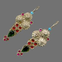 Boho Earrings, Vintage Earrings, Middle Eastern, Green, Pink, Turquoise, Jeweled, Kuchi, Gypsy, Afghan, Bohemian
