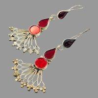 Red Earrings, Silver, Vintage Earrings, Middle Eastern, Red Glass, Jeweled, Kuchi Gypsy, Afghan, Bohemian, Boho