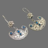 Afghan Earrings, Turquoise Earrings, Kuchi Gypsy, Vintage Earrings, Middle Eastern, Boho Jewelry, Big Bohemian, Silver, Dangle Long