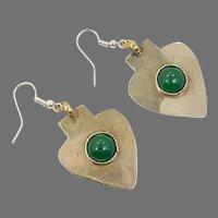 Gypsy Earrings, Afghan, Kuchi, Vintage Earrings, Green, Silver, Middle Eastern, Bohemian, Pierced Dangle