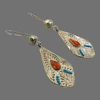 Boho Earrings, Kuchi Earrings, Turquoise, Gypsy, Vintage Jewelry, Middle Eastern, Silver, Pierced Dangle, Afghan Jewelry