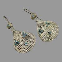 Dangle Earrings, Vintage Earrings, Afghan Earrings, Middle Eastern, Turquoise Accents, Silver Metal, Kuchi Jewelry, Pierced