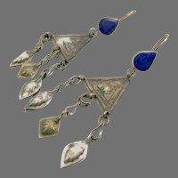 "Blue Lapis Earrings, Afghan Earrings, Vintage Earrings, Middle Eastern, 4"" Long, Kuchi Jewelry, Nomadic Gypsy"