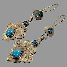 Turquoise Earrings, Boho, Vintage Earrings, Gypsy, Kuchi Earrings, Middle Eastern, Brass, Ethnic Jewelry, Afghan, Hippie, Large