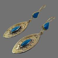 Turquoise Earrings, Afghan, Vintage Earrings, Middle Eastern, Brass, Mixed Metal, Kuchi, Gypsy, Boho Jewelry, Dangle, Festival Jewelry