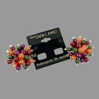 Cluster Earrings, NOS, Vintage Earrings, Clips, 1980s, 80s, Huge, Multi Color, Orange, Purple, Green, Lucite Plastic, Big Statement