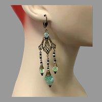 """Art Nouveau Earrings, Green, Vintage Earrings, Czech Glass, Brass, NOS, 1930s, 4"""" Long, Massive, Ornate"""