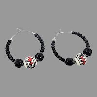 Hoop Earrings, Mexican, Pottery Beads, Black White Red, Boho Bohemian, Pierced Earrings, Vintage Earrings, Big Hoops, Ethnic Jewelry, Hippie
