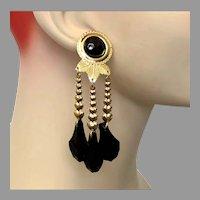 Black Earring, Gold, Long, Vintage Earrings, NOS, 1980s, 80s, Lightweight, Dangle Earrings, Pierced Earrings