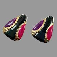 Retro Earrings, Vintage Earrings, 1980s, 80s, NOS, Enameled, Gold Earring, Black, Purple, Pink, Pierced, Big, Mod, New Old Stock
