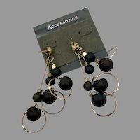 Black Earrings, Vintage Earrings, NOS, Gold, 1980s, 80s, Dangle Earrings, Pierced Earrings