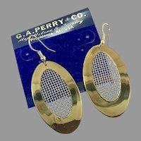 Modern Earrings, Vintage Earrings, NOS, 1980s, Gold Mesh Metal