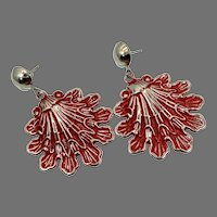 Red Earrings, Vintage Earrings, Enameled, NOS, Massive, 1980s, 80s, Oversized, Lightweight, Pierced, Dangles, Boho, Retro, Funky, Big