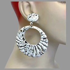 Hoop Earrings, White Metal, Enameled, Big Earrings, Vintage Earrings, NOS, 1980s, 80s, Pierced, New Old Stock, Retro, Mod, Huge, Statement