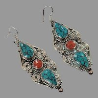 Turquoise Earrings, Tibetan, Nepal, Coral, Vintage Earrings, Inlaid Inlay, Tibet Silver, Boho Statement, Bohemian, Ethnic, Tribal, Big