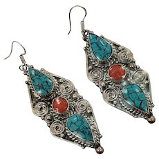 Turquoise Earrings, Tibetan, Nepal, Coral, Vintage Earrings, Inlaid Inlay, Tibet Silver, Boho Statement, Bohemian, Ethnic, Tribal, Big
