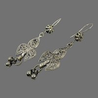 Old Silver Earrings, Afghan Earrings, Vintage Earrings, Middle Eastern, Embossed, Patina, Gypsy, Pakistan, Boho