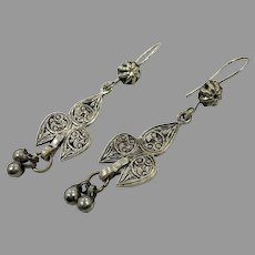 Old Silver Earrings, Afghan Earrings, Vintage Earrings, Middle Eastern, Embossed, Patina, Gypsy, Pakistan, Boho