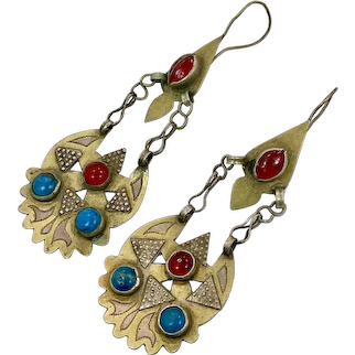 Gypsy Earrings, Old Silver, Gold Wash, Vintage Earrings, Middle Eastern, Kuchi, Turquoise, Red, Long, Dangles, Afghan Jewelry
