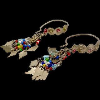 Gypsy Hoop Earrings, Old Silver, Vintage Earrings, Charms, Middle Eastern, Dangles, Afghan Earrings, Pakistan, Pierced