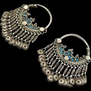 Hoop Earrings, Old Silver Earrings, Afghan Earrings, Vintage Earrings, Turquoise, Filagree, Middle Eastern, Ornate, Patina, Gypsy, Pakistan
