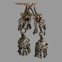 Middle Eastern Earrings, Old Silver, Jhumka, Kashmir, Earrings, Tassels, Pakistan, Afghan, Red Jewels