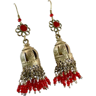 Ethnic Earring, Jhumka, Old Silver, Vintage Earrings, Middle Eastern, Afghan, Pakistan, Bell Earrings