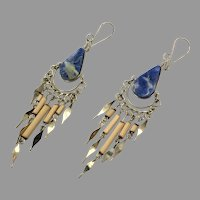 Peruvian Earrings, Blue Stone, Sodalite, Gypsy, Silver, Vintage Earrings, Ethnic Jewelry, Boho, Long Dangles, Big Earrings, Statement