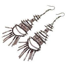 Boho Earrings, Beaded Dangles, Large, Vintage Earrings, Purple, Pierced, Dangles, Gypsy, Bohemian, Festival, Long