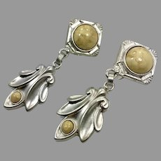 Robert Rose Earrings, Silver Earrings, Clips, Vintage Earrings, Designer, Cream Stone, Art Deco Inspired, Large, Statement, Long