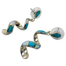 Turquoise Earring, Opal, Native American, Sterling Silver, Zuni, Vintage Earrings, Spiral, Dangle