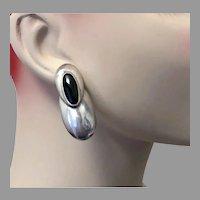 Black Onyx Earrings, Sterling Silver, Modern, Vintage Earrings, Big Statement, 1980s, 80s, Contemporary, Large