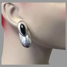 Black Onyx Earrings, Sterling Silver, Modern, Vintage Earrings, Big Statement, 1980s, 80s, Contemporary, Large