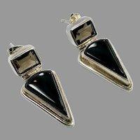 Black Onyx Earrings, Smokey Quartz, Sterling Silver, Vintage Earrings, Sajen, Designer, Pierced