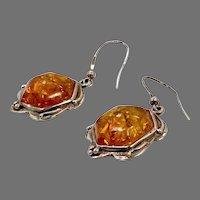 Amber Earrings, Sterling Silver, Vintage Earrings, Honey Amber, NOS, Pierced Dangles, Large, Unique, Art Nouveau Inspired
