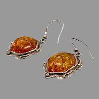 Amber Earrings, Sterling Silver, Vintage Earrings, Honey Amber, NOS, Pierced Dangles, Large, Unique, Art Nouveau Inspired