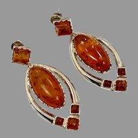 Amber Earrings, Sterling Silver, Vintage Earrings, NOS, Honey Amber, Pierced Dangle, Modern, Large, Long, Polish Amber