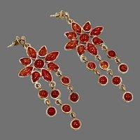 Amber Earrings, Sterling Silver, Long Dangles, Flower, Baltic Amber, Vintage Earrings, NOS, Pierced, Honey Amber