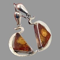 Amber Earrings, Big, Sterling Silver, Vintage Earrings, Honey Amber, NOS, Pierced, Dangles, Modern