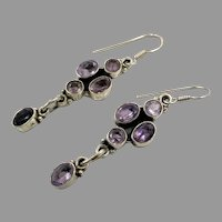 Amethyst Earrings, Sterling Silver, Vintage Earrings, Ethnic Tribal, Pierced Dangle, Purple Stone, Boho Jewelry, Bohemian