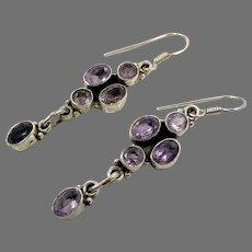 Amethyst Earrings, Sterling Silver, Vintage Earrings, Ethnic Tribal, Pierced Dangle, Purple Stone, Boho Jewelry, Bohemian